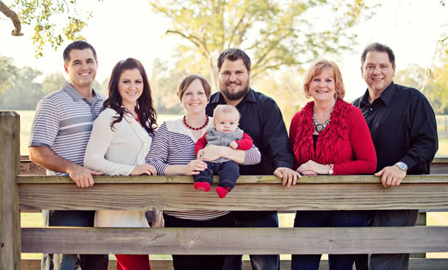 From Left to Right are: Corey and Kristen, Shanna, Josh and (according to Sue Harris in case you want to argue the point) the most beautiful grandbaby ever, Asher, and of course Sue and Roger Harris.